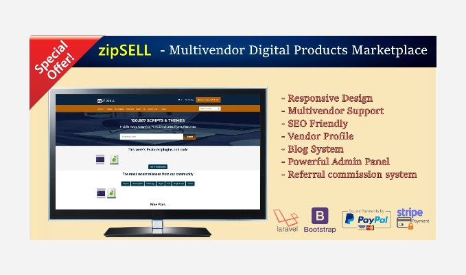 zipSELL Multivendor Digital Products Marketplace with source code